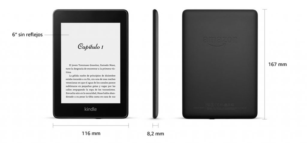 Kindle paperwhite dimensiones 167 mm x 116 mm x 8,2 mm